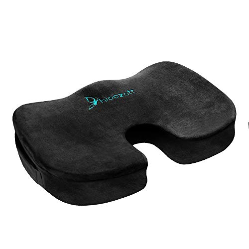 Hioozott Comfort Seat Cushion 100% Memory Foam Coccyx Cushion for Tailbone Pain Orthopedic Seat Cushion for Home Office Chair,Car Seat &Wheelchair Coccyx Cushion Sciatica & Back Pain Relief (Black)