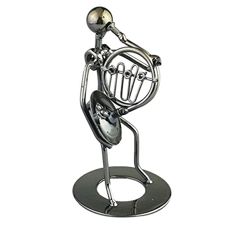 Vintage Iron Art Steel Music Man Figure Performer Home Bedroom Bar Display Decoration Ornament Birthday Gift C42 (French Horn)