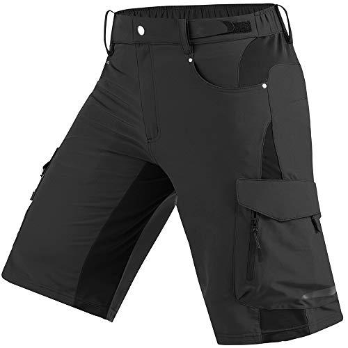 Cycorld Mens Mountain Bike Biking Shorts, Water Repellent MTB Shorts, Loose Fit Cycling Baggy Pants with Zip Pockets (Black, L Waist:32'-34', Hip:40'-42')