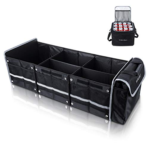 Farasla Waterproof Trunk Organizer with Insulated Leakproof Cooler Bag, Foldable Cover, Adjustable Securing Straps (4-in-1 w/Cooler, Black)