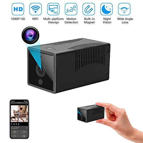 Mini Spy Camera Wireless Hidden WiFi Camera with Remote View HD 1080P with Night Vision,Motion Detection Alerts,with Cell Phone App Nanny Camera Premium Security Camera-iOS Android,with Card Reader
