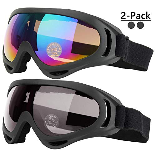 COOLOO Ski Goggles, Pack of 2, Snowboard Goggles for Kids, Boys & Girls, Youth, Men & Women, with Protection, Wind Resistance, Anti-Glare Lenses, Made, Multicolor/Gray