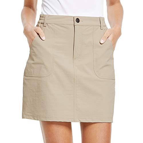 BALEAF Women's Outdoor Skort UPF 50 Active Athletic Skort Casual Skort Skirt with Zip Pockets Hiking Golf Khaki L