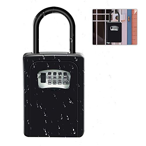 Suliper Key Lock Box with Shackle,4-Digit Combination Portable Safe Lockbox with Resettable Code,Wall Mounted Large Capacity for Real Estate,Spare House Key,Outdoor Weatherproof Key Holder (Black)