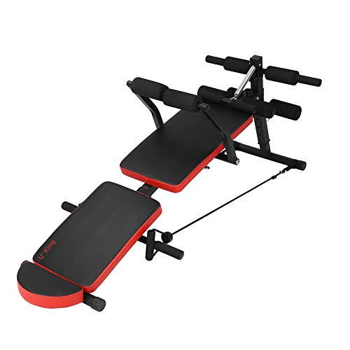 Adjustable Sit-ups Bench - Foldable Workout AB Bench for Home Gym, Incline/Decline Perfect for Bench Press,Weight , Leg Lifts, Full Body Fitness red