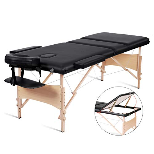 MaxKare Massage Table Lash Bed Professional 84' Portable Facial SPA Bed 3 Fold Height Adjustable With Carrying Bag, Black