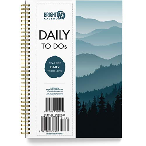 to Do List Daily Task Checklist Planner Time Management Notebook by Bright Day Non Dated Flex Cover Spiral Organizer 8.25 x 6.25 (Treeline)