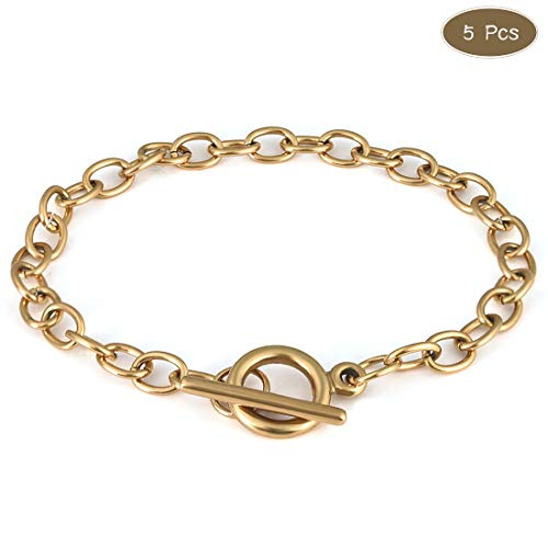 OBSEDE 5Pcs Golden Chain Bracelets Stainless Steel Link Bracelet Connectors with OT Toggle Clasps Jewelry Findings for Women Girls