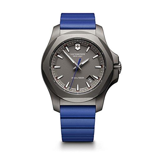 Victorinox Swiss Army Men's I.N.O.X. Titanium Swiss-Quartz Watch with Rubber Strap, Blue, 21 (Model: 241759)