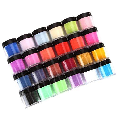 24 Colors Acrylic Nail Art Tips UV Gel Carving Powder Dust Design Decoration Creative Imaginative Nail Art Decoration 3D DIY Decoration Set, US STOCK