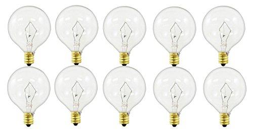 Sterl Lighting - Pack of 10 Bulbs 40-Watt G16.5 Wax Warmer Decorative Globe E12 Candelabra Base Clear Light Bulbs