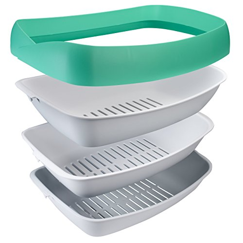 Luuup Litter Box - 3 Sifting Tray Cat Litter Box is Antimicrobial and Easy to Clean with Non-Stick Coating - Stylish, High-Sided Design with Spill Guard (15.4'x20.2'x7.5')