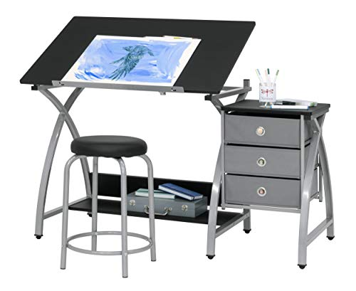 2 Piece Comet Art, Hobby, Drawing, Drafting, Craft Table with 36'W x 23.75'D Angle Adjustable Top and Stool in Silver/Black, Assembled Dimensions: 50' W x x 29.5' H
