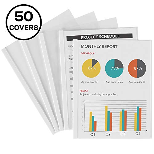Avery Clear Report Covers with Sliding Bars, White Binding Bars, Holds up to 20 Sheets, 50 Report Covers (47710)