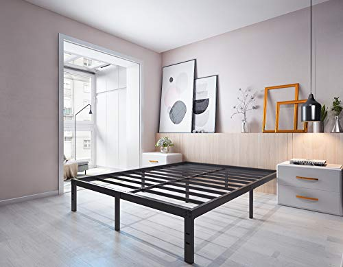Homdock 14 Inch Metal Platform Bed Frame/Sturdy Strong Steel Structure 3000 lbs Heavy Duty/Noise Free/None Slip Mattress Foundation/No Box Spring Needed/Black Finish, Full