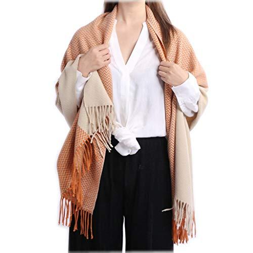 Super Soft Brushed Acrylic Weave Pattern Color Blocks Jacquard Blanket Scarf Women Men Scarves Warm Wrap With Self-Fringes KAHKI/ORANGE