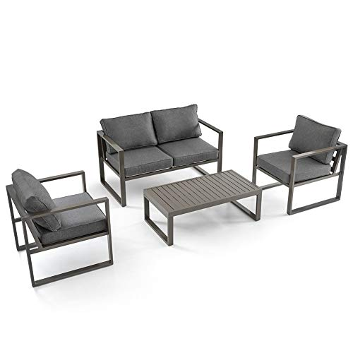 Crestlive Products 4 Pieces Patio Conversation Set, Outdoor Furniture Set, Aluminum Sofa Set with Coffee Table and Padded Cushions for Garden, Lawn, Pool, Backyard (Brown Frame, Gray Cushion)