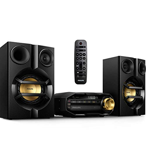 Philips FX10 Bluetooth Stereo System for Home with CD Player , MP3, USB, FM Radio, Bass Reflex Speaker, 230 W, Remote Control Included