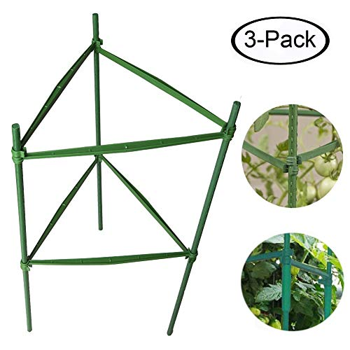 Plant Cages Tomato Garden Cages Stakes Vegetable Trellis, Assembled w/ 5Pcs A-Clips Fork, for Vertical Climbing Plants,Vegetables, Flowers, Fruits, Vine (2-Feet 3pack)