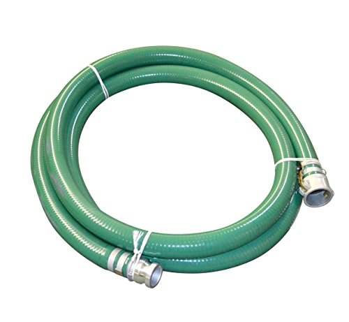 Abbott Rubber PVC Suction Hose Assembly, Green, 3' Male X Female Cam and Groove, 40 psi Max Pressure, 20' Length, 3' ID