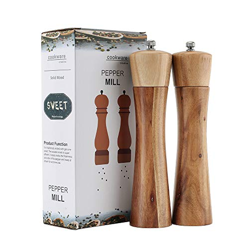 Wooden Salt and Pepper Grinder, Adjustable Manual Salt Grinder, Acacia Wood, 8 inch, Pepper Mill with Ceramic Core, Suitable for Picnic, Parties, Restaurant, Dinner, BBQ (2 PCS)