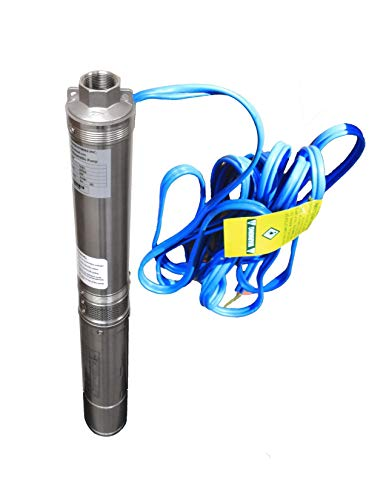 Hallmark Industries MA0414X-7 Deep Well Submersible Pump, 1 hp, 110V, 60 Hz, 33 GPM, 207' Head, Stainless Steel, 4'