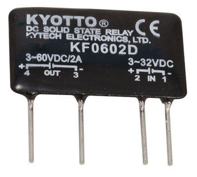 Kyoto Electric KF0602D DC-to-DC Solid State Relay, 32 Volt, DC Input, 2 Amp, 4-Pin, 1.4'L x 0.3'W x 0.9'H