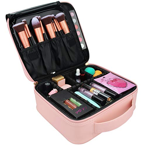 Relavel Makeup Case Travel Makeup Bag for Women Makeup Train Case Cosmetic Bag Toiletry Makeup Brushes Organizer Portable Travel Bag Artist Storage Bag with Adjustable Dividers (Pink)