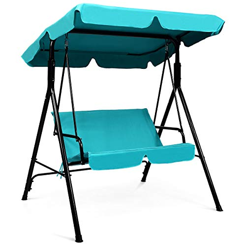 Tangkula 2-Person Patio Swing Chair, Outdoor Yard Glider Swing Bench with Canopy & Cushion, Weather Resistant Steel Swing Glider Chair for Porch, Backyard, Garden, Balcony
