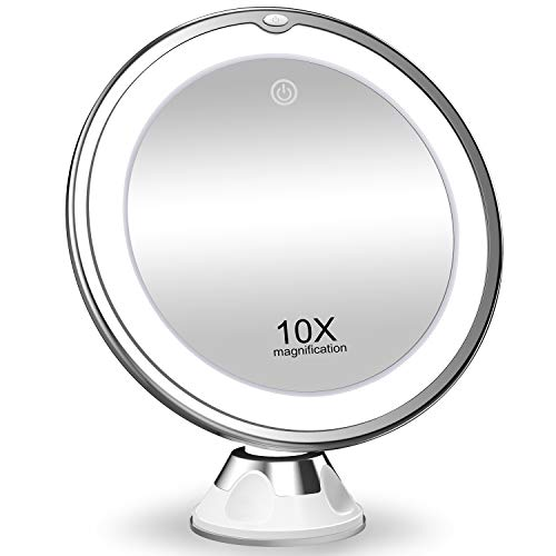 KOOLORBS 2020 New Version 10X Magnifying Makeup Mirror with Lights, 3 Color Lighting, Intelligent Switch, 360 Degree Rotation, Powerful Suction Cup, Portable, Good for Tabletop, Bathroom, Traveling