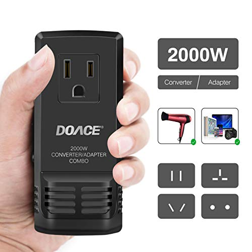 DOACE C8 2000W Travel Voltage Converter Step Down 220V to 110V for Hair Dryer Steam Iron, 8A Power Adapter with All in One UK/AU/US/EU Worldwide Plug Wall Charger for Laptop MacBook Camera Cell Phone