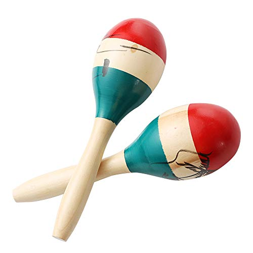 Maracas Large Colorful Wood Rumba Shakers Rattle Hand Percussion of Sand of the Hammer Great Musical Instrument with Salsa Rhythm For Party,Games. (Colorful)