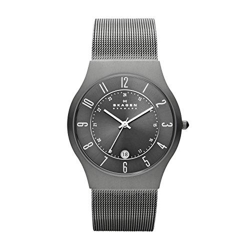 Skagen Men's White Label Titanium Analog-Quartz Watch with Stainless Steel Strap, Grey, 22 (Model: 233XLTTM)