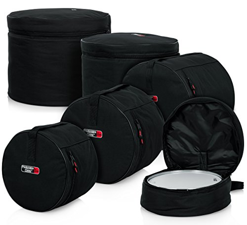"""Gator Cases Protechtor Series 5 piece Padded Drum Bag Set for Standard Kits; 22' Kick, 12"""" Tom, 13"""" Tom, 16"""" Tom, 14"""" Snare (GP-STANDARD-100)"""