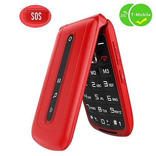 Ushining Flip Phone Unlocked SOS Button Dual SIM Card Easy to Use Unlocked Flip Cell Phone Large Button Large Speaker Compatible with 2G T-Mobile Simple Mobile Straight Talk Lycia(Red)