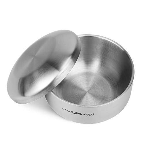 CHARMMAN Stainless Steel Shaving Soap & Cream Bowl with Lid | Three-walls Heat Preservation | Heavy Weight Steel270g/ 0.59ib)