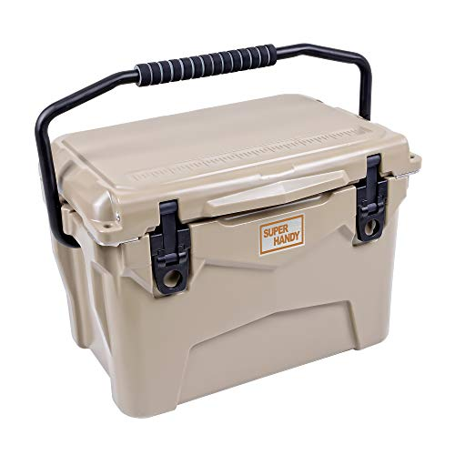 SuperHandy Rotomolded Cooler Ice Chest Enhanced 20QT Keeps Ice Up to 5 Days Commercial Grade Food Safe Dry Ice Compatible UV Protection Gasket Bottle Opener for BBQs, Tailgating & Outdoor Activities