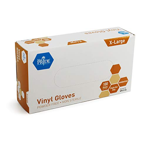 Medpride Vinyl Gloves  Medium Box of 100  4.3 mil Thick, Powder-Free, Non-Sterile, Heavy Duty Disposable Gloves  Professional Grade for Healthcare, Medical, Food Handling, and More