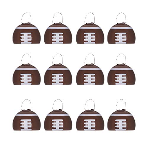 Metal Cowbells with Handles 3 inch Novelty Noise Maker - 12 Pack (Football)