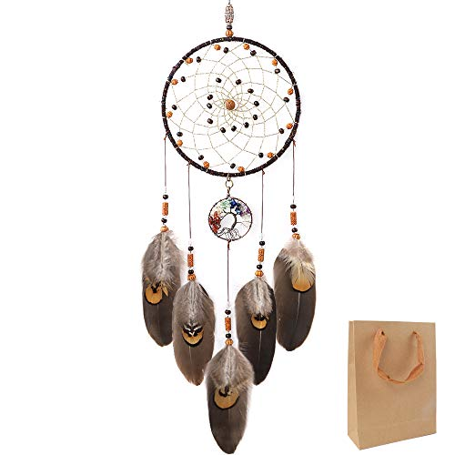 OUTUXED Dream Catchers Tree of Life Brown Handmade Feather Native American Dreamcatcher for Bedroom Wall Hanging Home Decor Wedding Party Blessing Gift