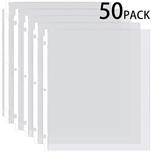 Ktrio Sheet Protectors 8.5 x 11 Inches Clear Page Protectors for 3 Ring Binder, Plastic Sleeves for Binders, Top Loading Paper Protector Acid Free Letter Size, 50 Pack