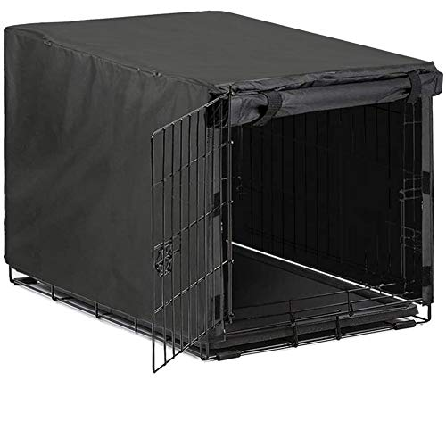 Avanigo Black Dog Crate Cover for 24 30 36 42 48 Inches Metal Crates Wire Dog Cage,Pet Indoor/Outdoor Durable Waterproof Pet Kennel Covers (36- INCH)…