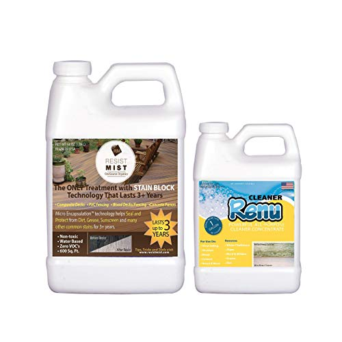 Resist Mist-Never Scrub Again Composite Deck Sealer & Premium Concreted Cleaner-No More Ugly Black Spot, Dirt & Grease Stains. Keeps Surfaces Looking Just Cleaned & Stain Free for Yrs.