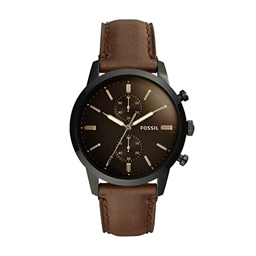 Fossil Men's Townsman Quartz Leather Casual Watch, Color: Black (Model: FS5437)
