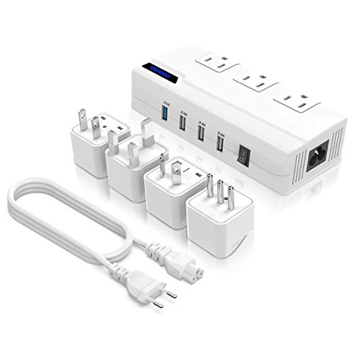 Universal Travel Adapter, GEARGO Power Converter All-in-One 220V to 110V Voltage Converter with 4-Port USB Charging UK/AU/US/EU Worldwide Plug Adapter White