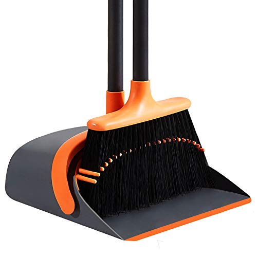 SANGFOR Dust Pan and Broom Set Cleans Broom and Dustpan Set Upright Stand Up Dustpan Broom Combo with Long Handle for Home Kitchen Room Office Lobby Floor Use (Orange)