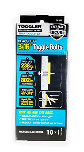 TOGGLER SNAPTOGGLE BA Toggle Anchor with Bolts, Zinc-Plated Steel Channel, Made in US, 3/8' to 3-5/8' Grip Range, For 3/16'-24 UNC Fastener Size (Pack of 10)