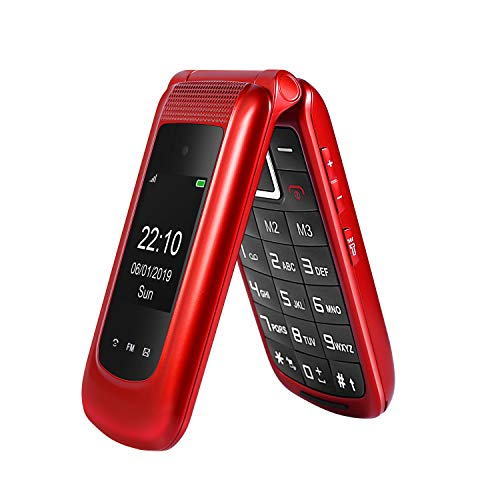 Uleway Unlocked Flip Phone 3G Dual SIM Card 2.4'' Flip Cell Phones Unlocked SOS Button Easy to Use T Mobile Flip Phone for Seniors & Kids (Red)