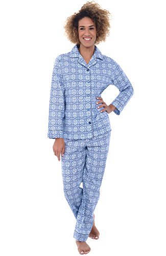 Alexander Del Rossa Women's Lightweight Button Down Pajama Set, Long Cotton Pjs, Medium Blue Moroccan Tile (A0517V56MD)