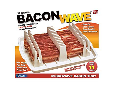 Emson Bacon Wave, Microwave Bacon Cooker, New, 9.96' x 8.03' x 0.37' (Length x Width x Height), White
